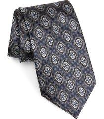 men's ermenegildo zegna medallion silk tie, size large - blue