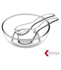 kit saladeira + talheres em acrilico transparente - kenya