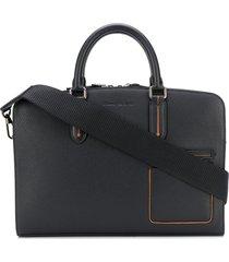 ermenegildo zegna grained leather slim briefcase - black