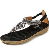 sandalias con cuentas de diamantes de imitación t-leaf para mujer-negro