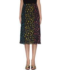 'jenessa' panelled leopard print colourblock slit hem skirt