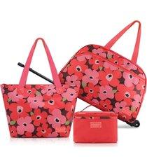conjunto de mala e bolsa de 3 peças jacki design papoula salmão