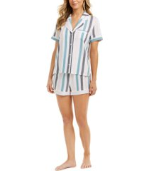 alfani women's striped pajama shorts set, created for macy's