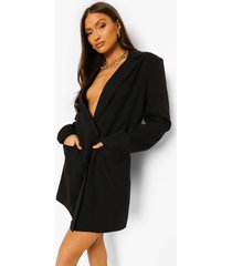 oversized linnen look blazer jurk, black