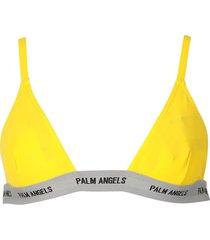 logo tape bikini top, yellow