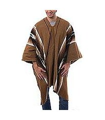 men's alpaca blend poncho, 'golden brown celebration' (peru)