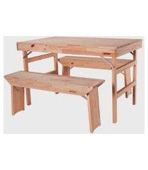 conjunto mesa e bancos tramontina  dobráveis naturalle em madeira pinus com acabamento natural 1300 mm