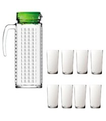 kit 1 jarra de vidro ladrilhos verde 1,2l e 8 copos vidro long sture móveis