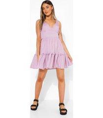 gingham swing jurk met laagjes, olive