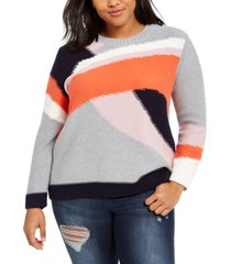 1.state trendy plus size cotton colorblocked sweater