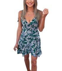 ax paris women's floral wrap frill dress