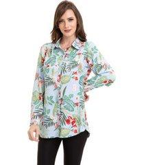 camisa kinara crepe floral feminina