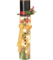 gerson & gerson lighted crackle glass snowman with top hat and hand-painted face