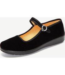 scarpe basse nere a ballo con fibbia di stile cinese mary jane