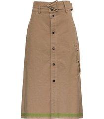 bottega veneta beige cotton skirt with belt
