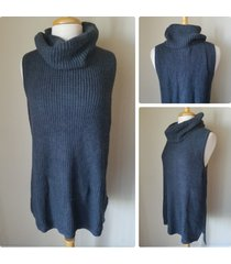 nwt sonoma dark ink gray sleeveless waffle cowl neck tunic sweater knit top 1x