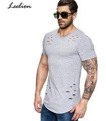 camiseta corta de los hombres de moda agujero diseño de fitness-gris