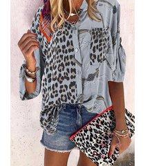 button diseño leopard crew cuello blusa de manga larga