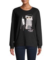 karl lagerfeld paris women's painting karl sweatshirt - soft white - size xxs