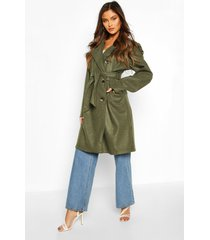 belted wool look double breasted trench coat, khaki