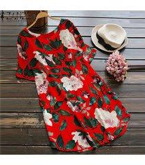 zanzea mujeres más el tamaño de una línea de boho floral vestido de tirantes vestido de fiesta de la playa de algodón (de manga corta) -rojo