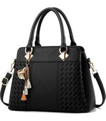 bolso mujer mediano  cuero pu bordado adorno flor 2912 negro