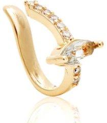 brinco piercing topázio navete multi cristais banhado a ouro 18k
