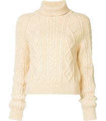 chanel pre-owned 1996 fisherman roll neck sweater - neutrals