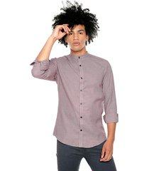 camisa los caballeros cuello neru manga larga miniprint vinotinto y azul