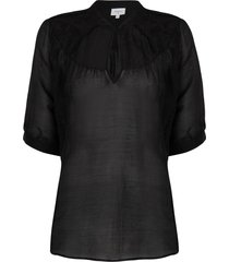 katoenen blouse birken  zwart