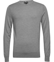 fine gauge luxury wool crew neck stickad tröja m. rund krage grå tommy hilfiger tailored