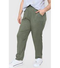 pantalón verde minari fibrana silea plus size