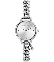 classic stainless steel charm bracelet watch