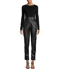 msgm women's high-waist faux leather pants - nero - size 40 (2)