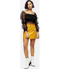petite mustard zip through pu mini skirt - mustard