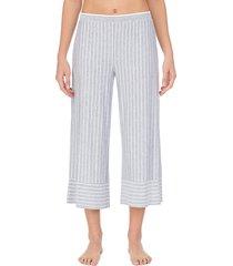 donna karan sleepwear women's striped capri pajama pants - grey - size s