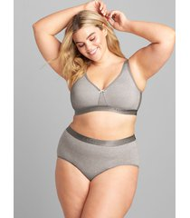 lane bryant women's cotton full brief panty with wide waistband 34/36 summer grey