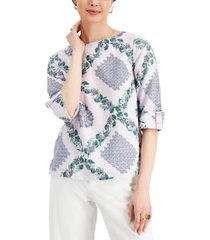charter club floral woven top, created for macy's