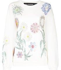 filles a papa georgia crystal-embellished cotton sweatshirt - white