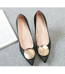 pp413 elegant high-heeled pump w gold plate top, us size 1-9.5,black