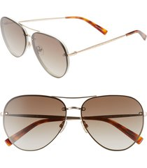 women's rebecca minkoff gloria2 59mm aviator sunglasses - light gold