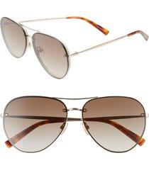 rebecca minkoff gloria2 59mm aviator sunglasses in light gold at nordstrom