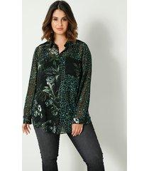 blouse sara lindholm zwart::groen