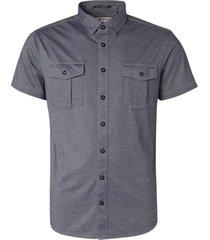 no excess shirt short sleeve jersey 2 coloure indigo blue