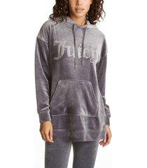 juicy couture women's drop shoulder long hoodie