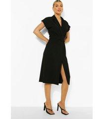 mouwloze wikkel blazer jurk met ceintuur, black