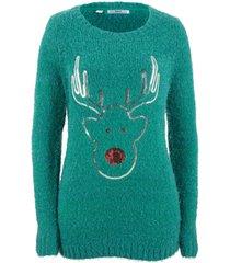 maglione natalizio con renna di paillettes (petrolio) - bpc bonprix collection