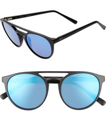 women's maui jim ah dang! 52mm polarizedplus2 flat top sunglasses - matte black/ blue hawaii