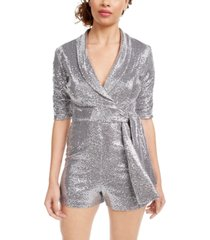 crystal doll juniors' sequin-dot wrap romper