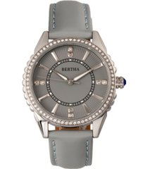bertha quartz clara collection grey leather watch 39mm